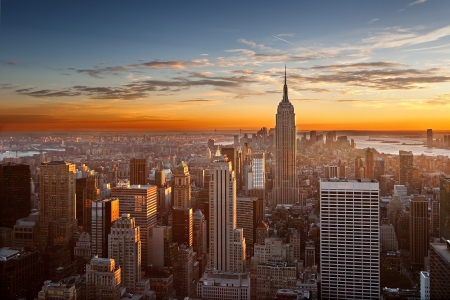 Top of the Rock からのマンハッタンに沈む夕日