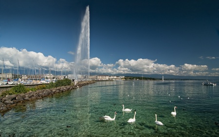 Lehman lac près de Geneve, Suisse.