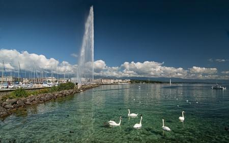 Lehman Lake near Geneve, Suisse. Stock Photo