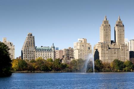 Central Park reservoir at autumn