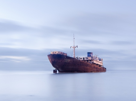 Old ship beached on Lanzarote, Spain