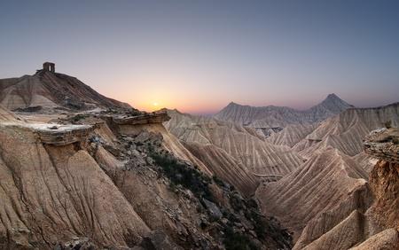 Sunset at the desert of Bardenas Stock Photo