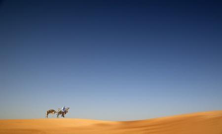 Caravan of camel on sahara�s desert