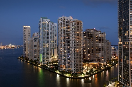 miami sunset: Sunset over Downtown of Miami