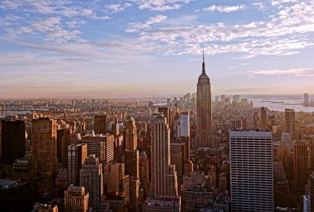 panorama city panorama: Puesta de sol en la ciudad de Nueva York Foto de archivo