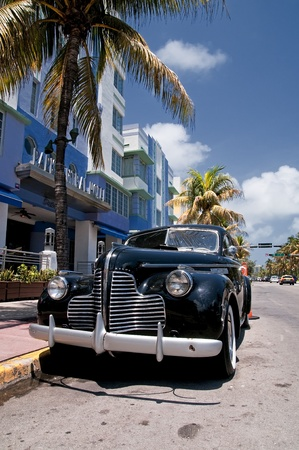 restored: Old car in the streets of Miami Beach Stock Photo