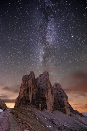 Milky way over alps in Lavaredo´s valley