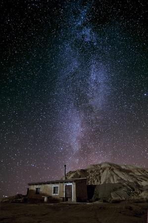 Shepherd hut at desert night near Pamplona, Spain Stock Photo