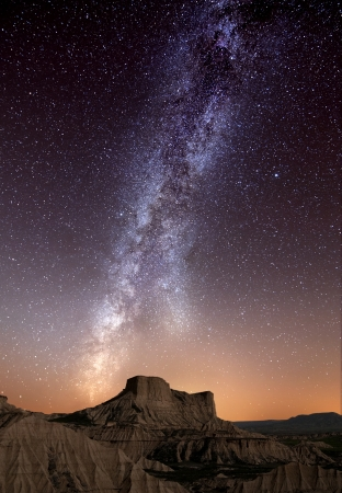 Milky Way over the desert of Bardenas, Spain photo