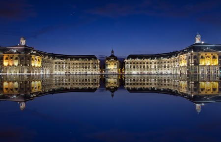bordeaux, reflections at the stock place Stockfoto