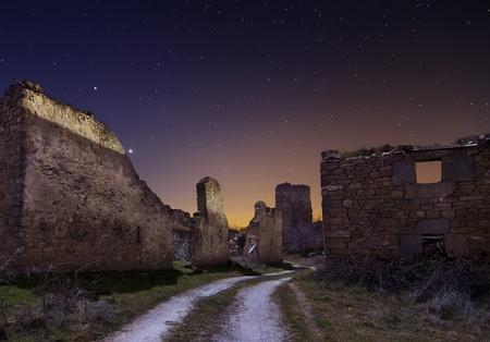 Old ruins at night, Spain Stock Photo