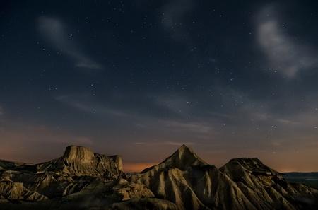 Desert of Bardenas at night.
