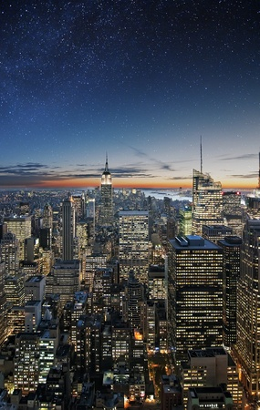 Manhattan under the stars from the roof