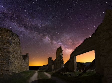 Old ruins at night, Spain Archivio Fotografico