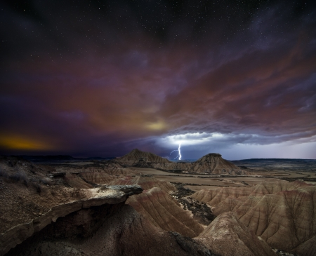Storm over the desert of Bardenas photo