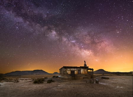 Shepherd hut at desert night near Pamplona, Spain photo
