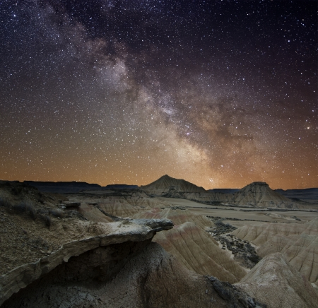 constellations: Milky Way over the desert of Bardenas, Spain
