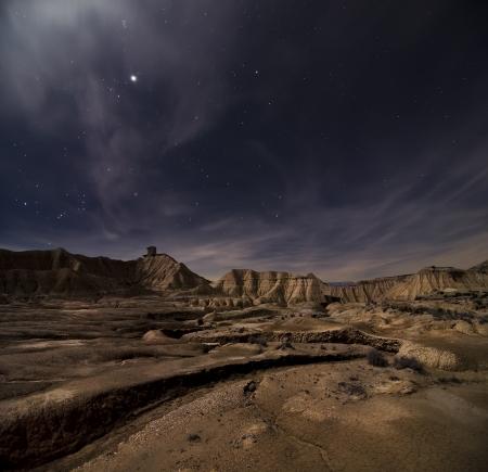 Desert of Bardenas at night Stock Photo