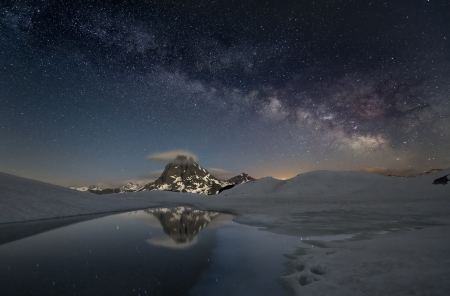 milky way over the mountains of spain Stock Photo