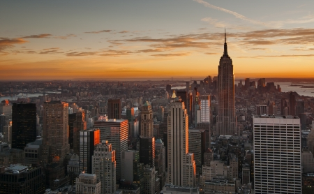 Midtown Manhattan skyline at sunset, New York City Stock Photo - 21158705