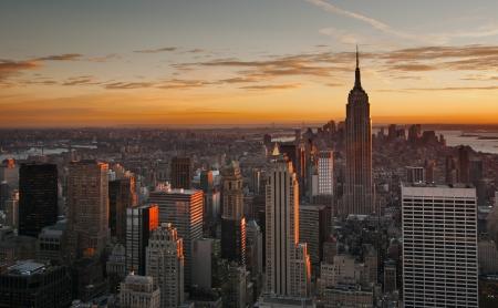 manhatten skyline: Midtown Manhattan Skyline bei Sonnenuntergang, New York City