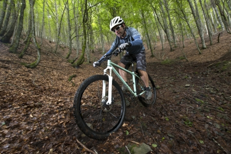 Rider in action at Freestyle Mountain Bike Session Stock Photo