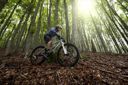 radfahren: Rider in Aktion auf Freestyle Mountain Bike Session