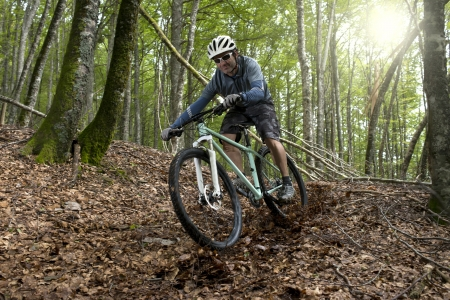 mountain bicycling: Rider in action at Freestyle Mountain Bike Session Stock Photo