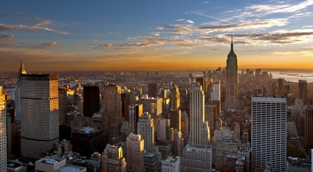 new horizons: Sunset over Manhattan , panoramic view
