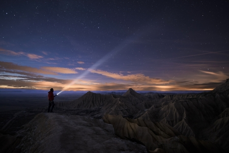 high desert: Lighting Up the Night over Bardenas, Spain Stock Photo