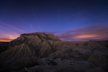 Blue hour over the desert of Bardenas, Spain