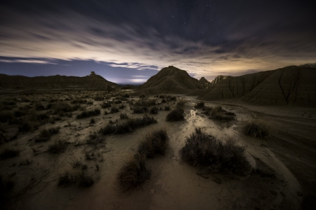 navarra: Night over the desert, Bardenas, Spain Stock Photo