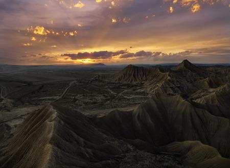Colorful sunset over the desert of Bardenas Reales, Navarra, Spain