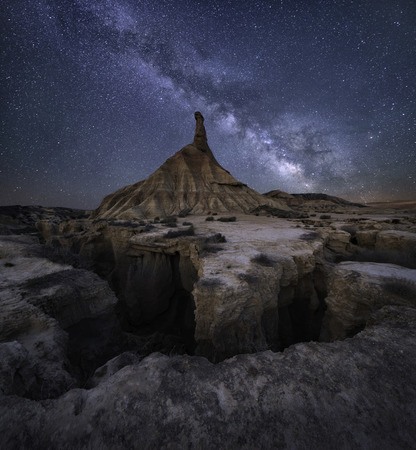 Milky way over the desert of Bardenas Reales, Navarra, Spain photo
