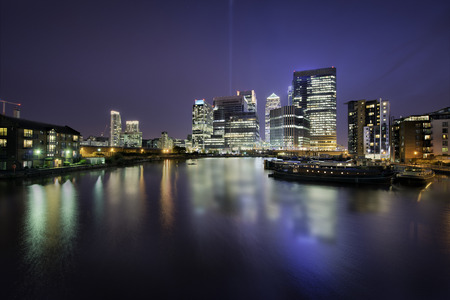 docklands: Skyline of Docklands, Canary Wharf, London, in a beautiful night