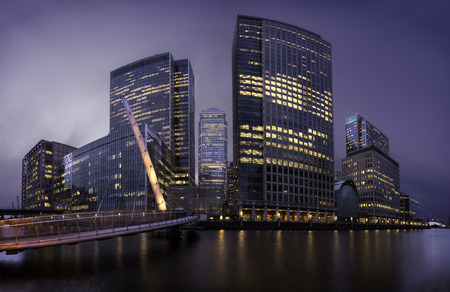 Skyline of Canary Warhf district at night, London, united Kingdom