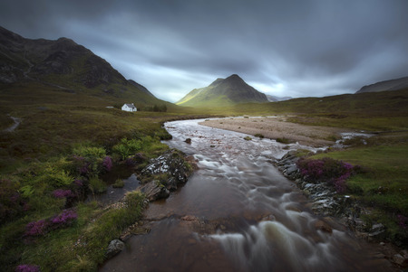 glencoe: Glencoe mountains, Scottish Highlands, United Kingdom, in a cloudy day