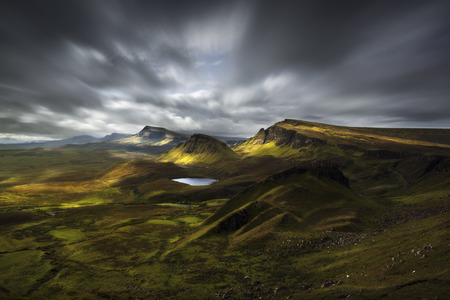 Quiraing view, Scottish Highlands, United Kingdom, in a cloudy morning Stock Photo