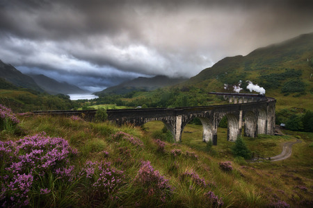 Glefinnan viaduct, Scottish Highlands, United Kingdom, in a stormy day Stock Photo - 31395289