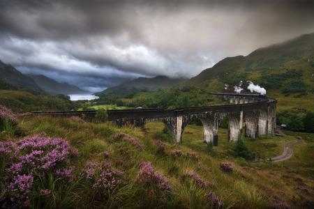 Glefinnan viaduct, Scottish Highlands, United Kingdom, in a stormy day