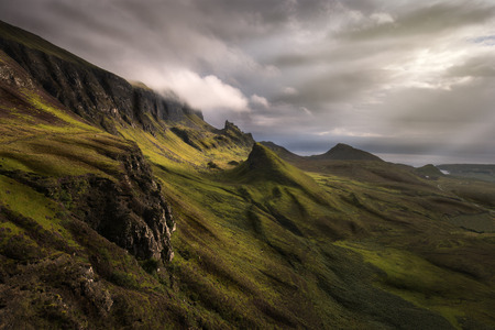Quiraing view, Scottish Highlands, in a cloudy morning Archivio Fotografico