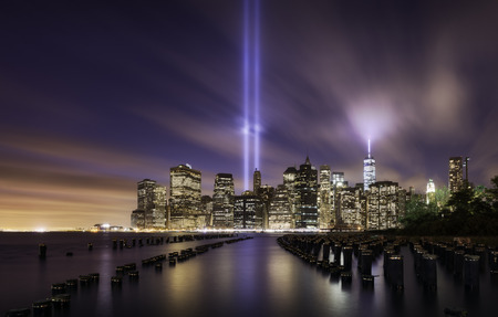 Manhattan skyline on 9-11-2014, memorial lights