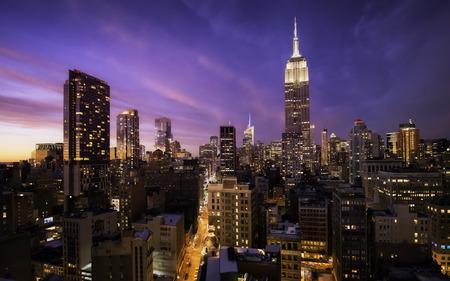 Beautiful sunset over manhattan skyline, New York City Stock Photo