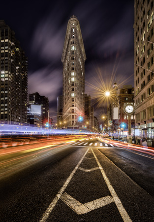 Night light trails in the fifht avenue, New York City