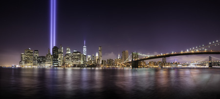 Pano of Manhattan in the memorial day, tribute lights at night, New York Stock Photo