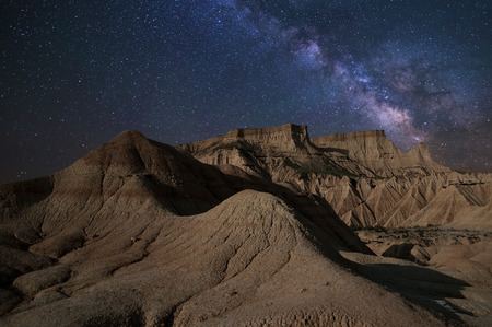 Milky Way over the Desert of Bardenas at night.