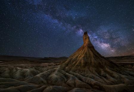 Bardenas desert Milky Way, Navarra, Spain Stock Photo - 32505222