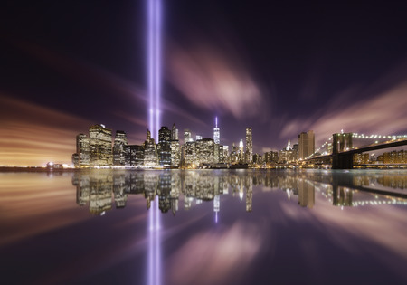 Tributes lights over the skyline of Manhattan, New York on Memorial day 9-11-2014