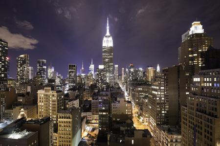 Colorful night over New York city, Manhattan island