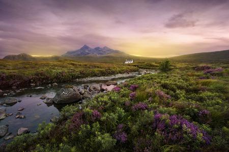 Colorful sunset over the Scottish Higlands, river Sligachan, Scotland